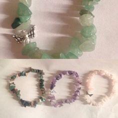 My handmade bracelets. green Aventurine, Jasper, Amethyst, and Rose Quartz all #MadeWithLove