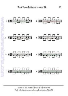 Page skip beats and notes both on bass drum and snare. Drum Sheet Music, Drums Sheet, Drum Notes, Drum Patterns, Drums Beats, Skip Beat, Drum Lessons, Bass Drum, Percussion