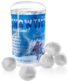 Snowtime Anytime Indoor Snowballs. Also if you do not get snow were you live your kids can play with snow .