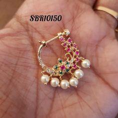 No photo description available. Gold Bar Earrings, Jewelry Design Earrings, Gold Earrings Designs, Bridal Jewelry Sets, Bridal Jewellery, Wedding Jewelry, Nose Ring Jewelry, Nose Rings, Fancy Jewellery
