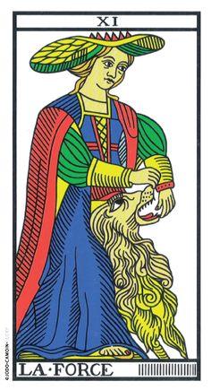 Strength from the Jodorowsky & Camoin Tarot de Marseille. I think this would go nicely on my outer left calf. Tarot Card Decks, Tarot Cards, True Tarot, Strength Tarot, Maleficarum, Tarot Gratis, Epic Of Gilgamesh, Tarot Major Arcana, Aleister Crowley