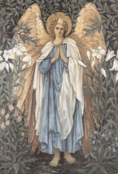 Pre Raphaelite Art - Sir Edward Coley Burne-Jones ~ Angel of the Annunciation