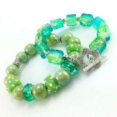 Zestaw bransoletki z kamienia jadeitu i kwarcu w turkusie