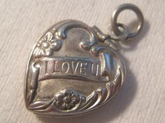 Antique Sterling Repousse Flowers Embossed I Love U Puffy Heart Charm