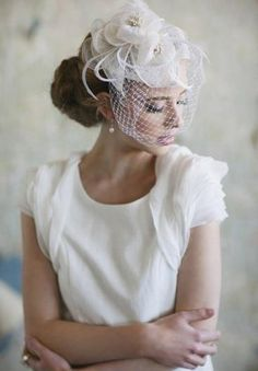 From Loverly! What a stunning, elegant headpiece!
