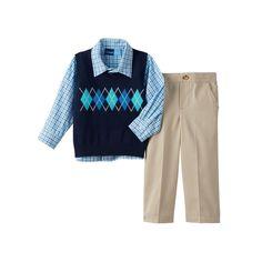 Toddler Boy Great Guy Argyle Sweater Vest, Plaid Shirt & Pants Set, Size: 3T, Blue (Navy)