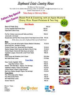 Roast Pork Crackling, Pork Roast, Fathers Day Lunch, Delivery Menu, Bacon Potato, Restaurant Offers, Fine Dining, South Africa, Coast