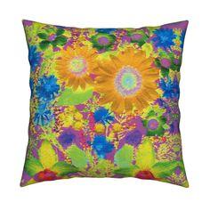 Catalan Throw Pillow featuring KRLGFPWackedOutWildflowers by karenspix   Roostery Home Decor