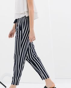 Image 3 of STRIPED TROUSERS WITH LACES from Zara