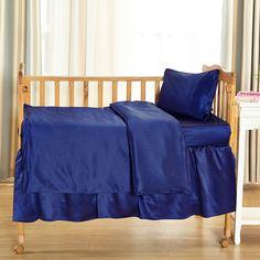 19 Momme Silk Crib Bedding Set-Blue