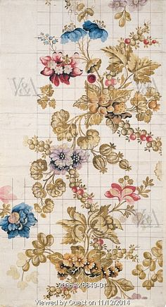 Design for silk, by Anna Maria Garthwaite (1690-1763). Paper. England, 1736.