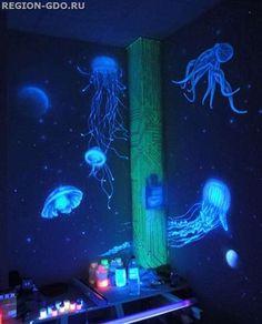 Флуоресцентная краска DecART – краска, светящаяся в ультрафиолетовом излучении. При дневном освещении Luminous Paint, Forest Room, Ocean Room, Dark Paintings, Mermaid Room, Kid Spaces, New Room, Glow, Home And Garden
