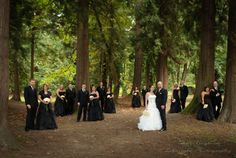 Large Bridal Party Portland Wedding Photographer Irina Negrean Photography Wedding in the forest Black gowns