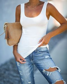 Tank Top For Women Tank Top And Jeans Womens Dressy Tops Evening Pavada Blouse Bridesmaid Tank Tops Bridesmaid Tank Tops, Summer Outfits, Cute Outfits, Dressy Tops, Style Me, Womens Fashion, Fashion Trends, Street Style, Skinny