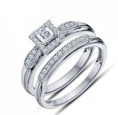 14K White Gold Finish 925 Silver Princess D/VVS1 Diamond Women's Bridal Ring Set #Bacio2jewel #EngagementWeddingAnniversaryGift