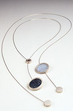 necklaces, silver, copper, vitreous enamel, 2004