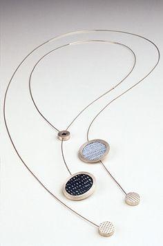 necklaces, silver, copper, vitreous enamel, 2004