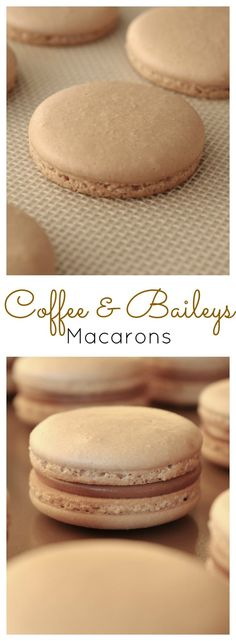 Coffee & Baileys Macarons Coffee flavoured cookies with a Baileys Milk Chocolate Ganache. Baking Recipes, Cookie Recipes, Dessert Recipes, Frosting Recipes, Just Desserts, Delicious Desserts, Yummy Food, Party Desserts, Ganache Macaron
