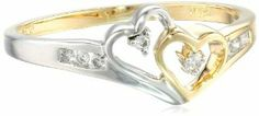14k Two-Tone Diamond Heart Ring (1/10 cttw, H-I Color