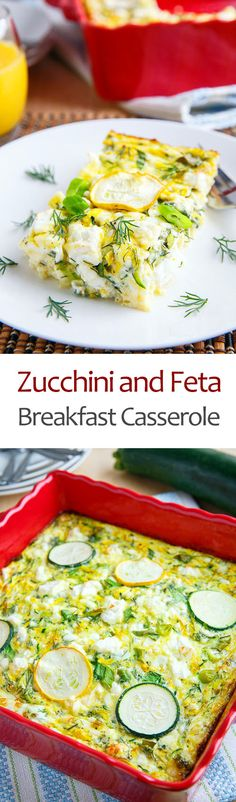 Zucchini and Feta Breakfast Casserole - This sounds amazing as is but I may have to sneak in some mushrooms.