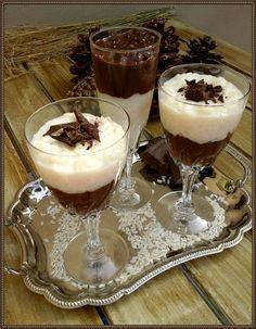 Ρυζόγαλο δίχρωμο με σοκολάτα Panna Cotta, Deserts, Dessert Recipes, Cooking Recipes, Pudding, Sweets, Chocolate, Breakfast, Ethnic Recipes