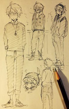 "Character sketches of a ""nerdy"" male character with glasses."