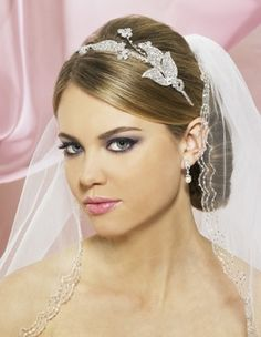 Symphony Bridal 4700CR Floral Butterfly Headband - lots of sparkle for your wedding hairstyle! affordableelegancebridal.com
