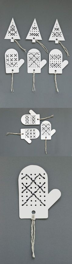 Holiday gift tags or toppers made by stitching bakers twine in pre-punched holes