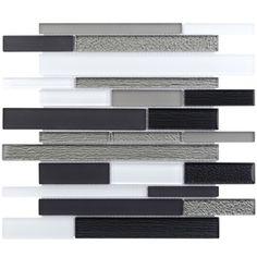 Elida Ceramica�12-in x 14-in Black Diamonds Glass Mosaic Wall Tile (Actuals 12-in x 14-in)