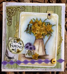 LOTV - Daffodils with stamps from Journal Tags and Grungy relations and Heartfelt papersby Lou Besties, Bff, Z Cards, Paper Frames, Card Maker, Lily Of The Valley, Small World, Daffodils, Spring Time