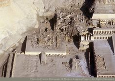 Amazing Temple Structures in Egypt dating from the Middle Kingdom, Dynasty 11, rule of Mentuhetep II through to Dynasty 18, rule of Hatshepsut & later Thutmes III. The photo depicts the remains of the base of Hatshepsut's Memorial Temple, Mentuhetep's Memorial Temple & Thutmes III's Temple in Dayr al Bahri on the West Bank of Thebes via photographer Francis Dzikowski for Theban Mapping Project