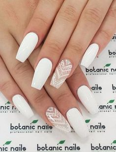 There are three kinds of fake nails which all come from the family of plastics. Acrylic nails are a liquid and powder mix. They are mixed in front of you and then they are brushed onto your nails and shaped. These nails are air dried. Cute Acrylic Nails, Acrylic Nail Designs, White Nail Designs, White Nails With Design, Acrylic Nails Coffin Short, Gorgeous Nails, Love Nails, Perfect Nails, Botanic Nails