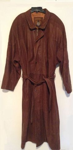 IOU Leather Collection Brown Long Trench Coat Jacket #IOU #Trench