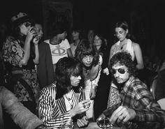 Keith Richards, Mick Jagger and Bob Dylan, circa 1971.