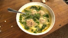 Recipe with video instructions: Frankie brings us his twist on a traditional Italian Wedding Soup Ingredients: Meatballs:, ½ lb ground pork, Salt, to taste, White pepper, to taste, 1 clove garlic, ¼ cup chopped italian parsley, 1 egg, Breadcrumbs, 2-3 thick slices mortadella, cubed, 2 cups milk, Soup:, 3 Tbsp olive oil, 2 celery stalks, diced, 1 shallot, finely diced, 32 oz chicken stock, Water, as needed, 3 cups fresh spinach, 1 cup stelle pasta, or any small pasta, 2 eggs, 1 fresh pod…
