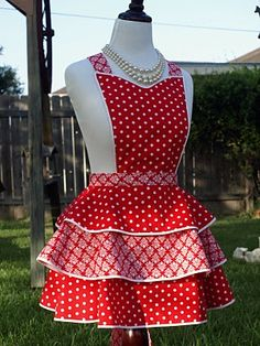 Red tiered apron