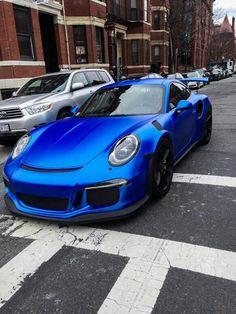 Satin blue Porsche 911 Turbo GT3