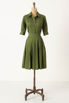 Also comes in a charming eggplant color. Ihrin Shirtdress, via @Anthropologie, $148. #green #dress #classic