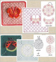 Free Charts, Crochet Chart, Granny Squares, Shawls, Kids Rugs, Flowers, Decor, Crochet Animals, Blanket