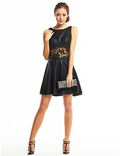 ts Couture® cocktail robe une ligne de scoop courte mini-polyester / avec