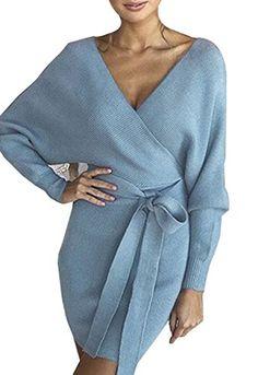 ZIYYOOHY Damen Elegant Pulloverkleid Strickkleid Tunika Kleid V-Ausschnitt  Langarm Minikleid Mit Gürtel 2582804bee