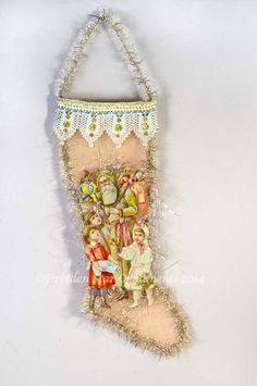Large Santa with Children on Pastel Mesh Stocking with Amazing Antique Lacework Victorian Christmas, Vintage Christmas Ornaments, Pink Christmas, Christmas Stockings, Christmas Crafts, Christmas Canvas, Christmas Holidays, Merry Christmas, Christmas Decorations
