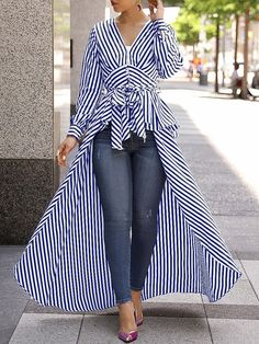V-Neck Striped Tie Waist Dip Asymmetrical Hem blouse for women chic blouse for women chic casual blouse for women chic style blouse for women chic fashion designers blouse for women chic shirts Trend Fashion, Womens Fashion, Ladies Fashion, Fashion Ideas, Cheap Fashion, Autumn Fashion, Stripped Shirt, Mode Hijab, Long Blouse