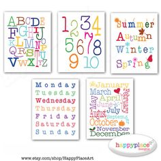 INSTANT DOWNLOAD Alphabet Numbers Months Seasons and Days Wall Art Print Set