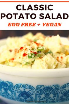 Every single time I make this recipe, I get tons of compliments! People cannot believe that this is vegan! This is really the best potato salad. #vegan #potatosalad #recipe #eggfree