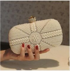 2017 New Pearl Handbag Bridal Fashion Diamond Evening Bag Women's Cross-Body Shoulder Bags 3 Colors