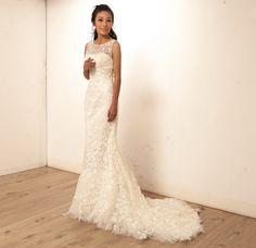 Scoop Mermaid Lace Ivory Beach Customized Wedding Dress. $328.00, via Etsy.