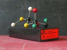 Vintage 1960s Hamilton Bell Wood Molecular Model Set by abrshop