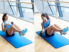 Work your abs (obliques), lower back, and hip flexors with Russian twists with a dumbbell. #exercise #workout #fitness