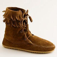 j.crew. minnetonka. fringed moccasin boots.